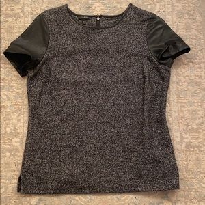 Talbots wool blend top w/ faux leather details
